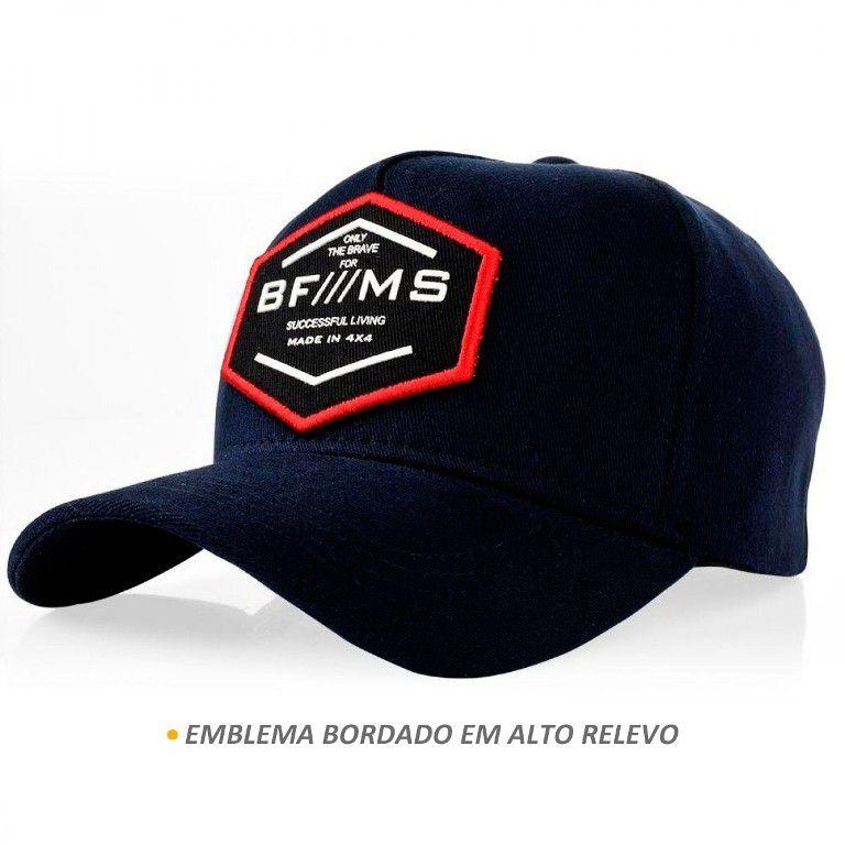 Boné BFMS Original Brave Azul Marinho com Vermelho Ajustável