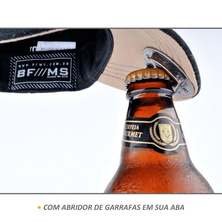 Boné BFMS Original American Type Preto Open Beer Abridor Garrafa Ajustável