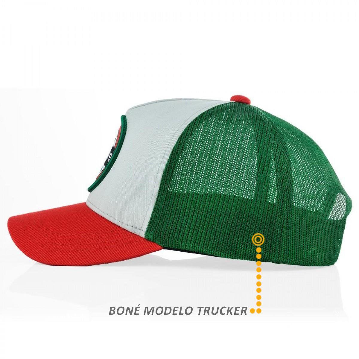 Boné Selo BFMS Verde Cinza Vermelho Snapback Ajustavel