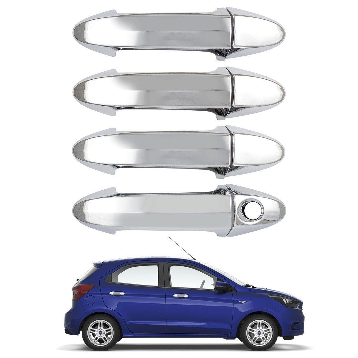 Capa Aplique de Maçaneta Cromada Ecosport New Fiesta Ka 4 Portas