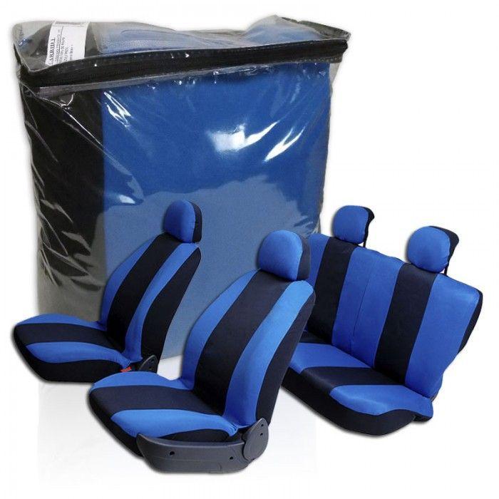 Capa de Banco Automotivo Universal Tecido Preto e Azul