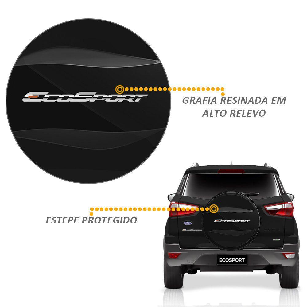 Capa de Estepe Ecosport Titanium 2018 2019 Cadeado Preto Ebony