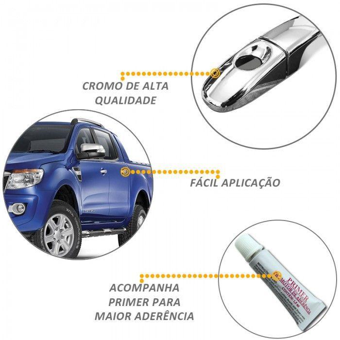 Capa De Maçaneta para Ford Ranger 2013 A 2020 Cromado