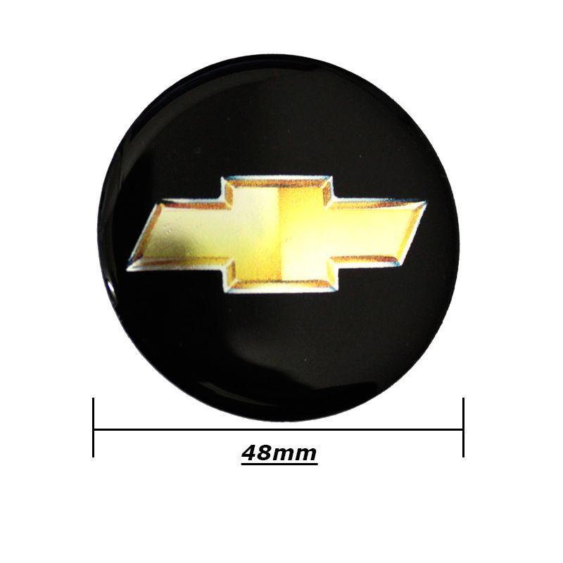 Kit 4 Emblema Adesivo Chevrolet Roda Calota Resinado 48mm