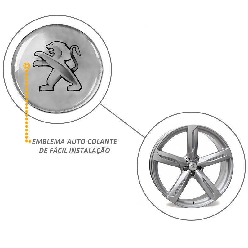 Emblema Adesivo Roda Esportiva Calota Resinado 48mm Peugeot