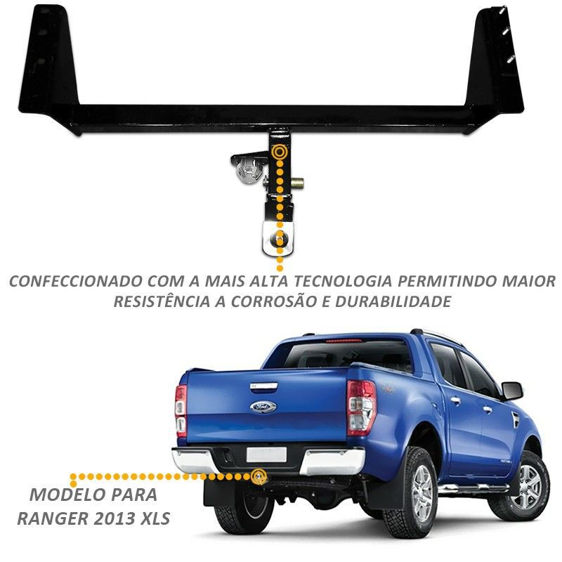 Engate Removível Ranger XLT XLS 2013 a 2017 Tração até 1500kg