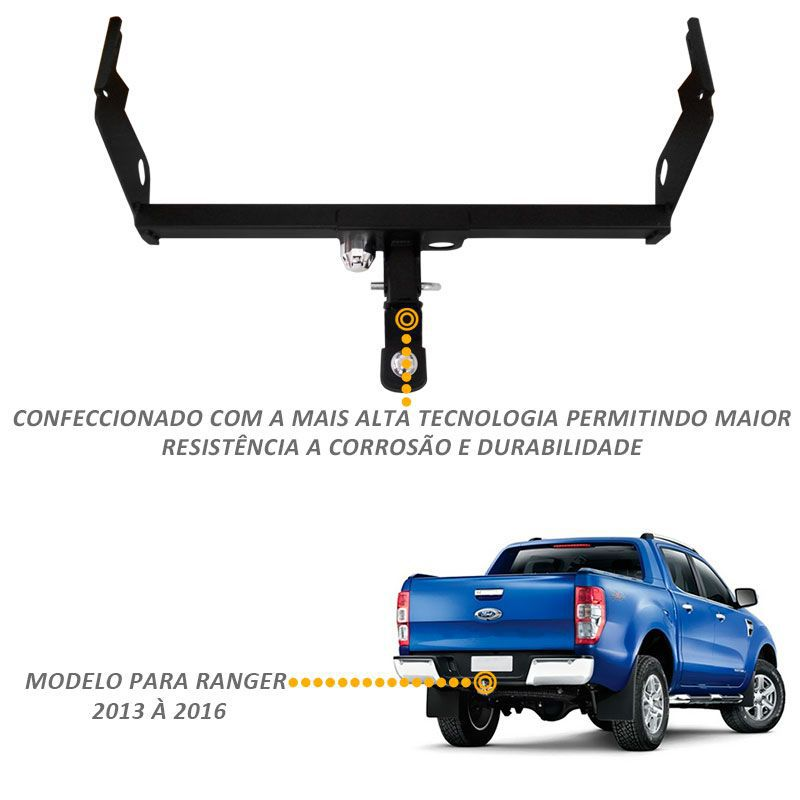 Engate Roboque Ranger 2013 a 2018 Bepo Removível 1500kg