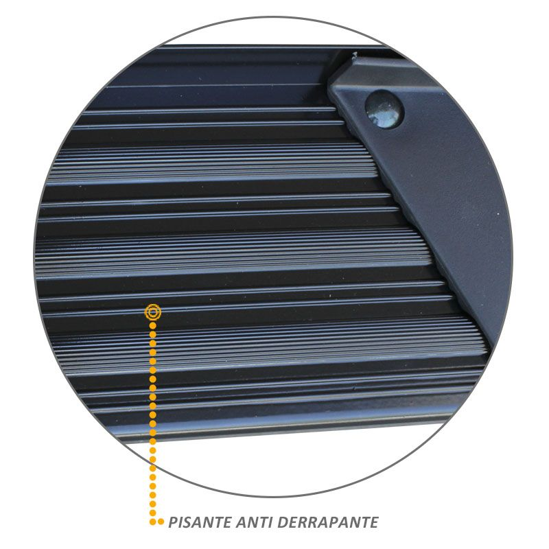 Estribo Lateral Ranger CD 1998 a 2012 Aluminio Preto A3