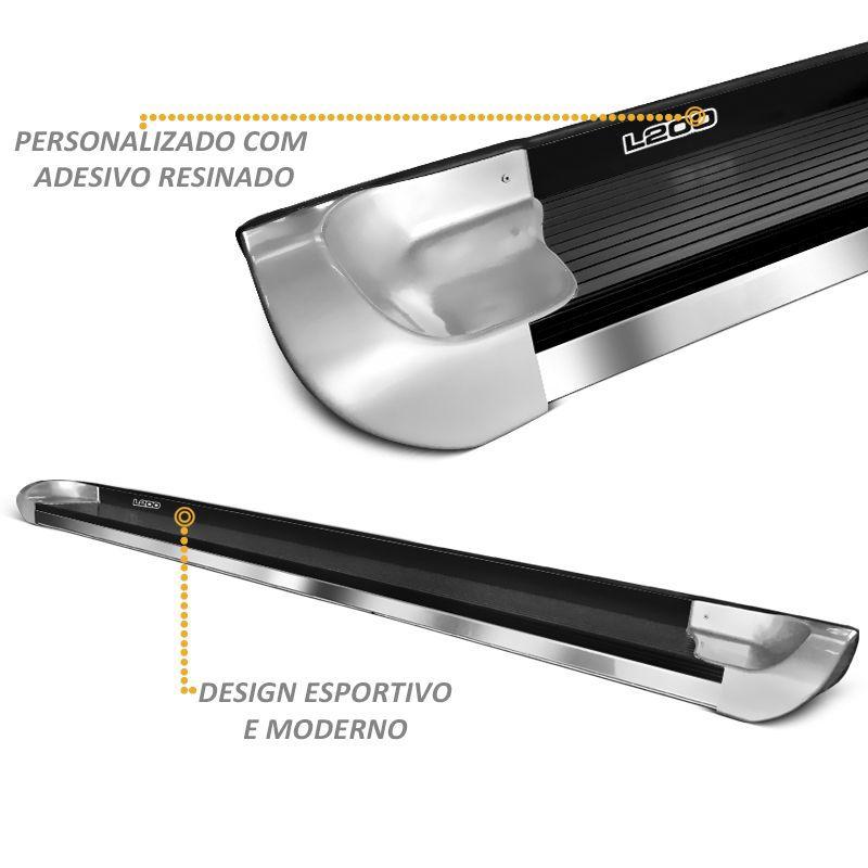 Estribo Lateral L200 Triton 2008 a 2018 Personalizado Aluminio Prata