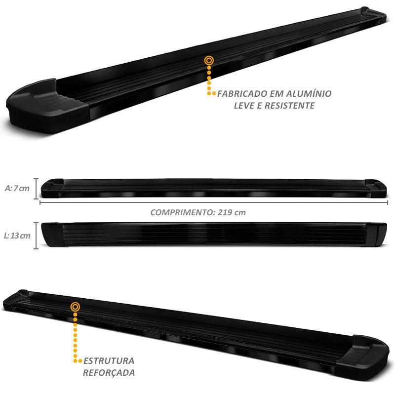 Estribo Lateral S10 CD 1996 a 2011 Aluminio Preto Elegance Bepo