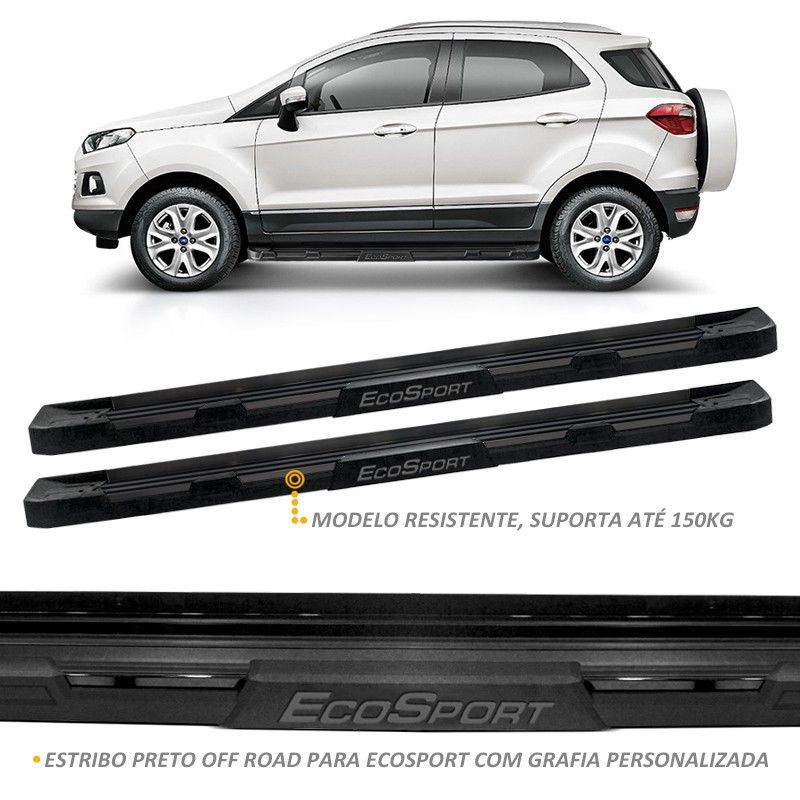 Estribo Lateral Ecosport 2013 a 2018 Off-Road Preto Fosco Stribus
