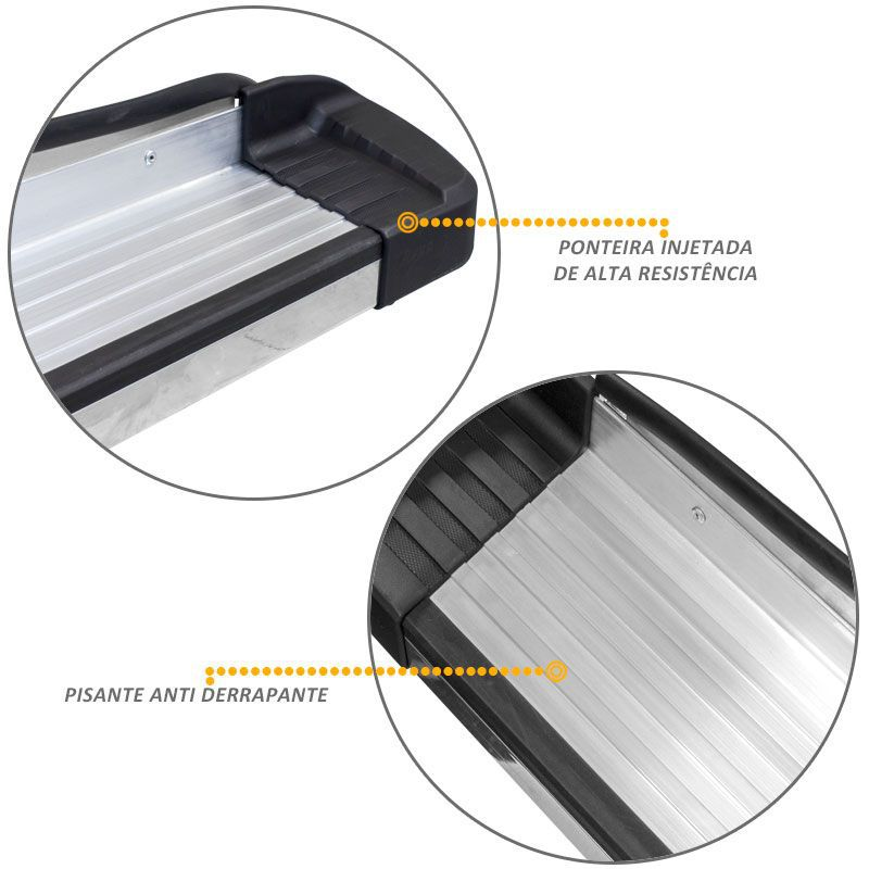 Estribo Lateral Hilux 2005 a 2015 Alumínio Prata Elegance Bepo