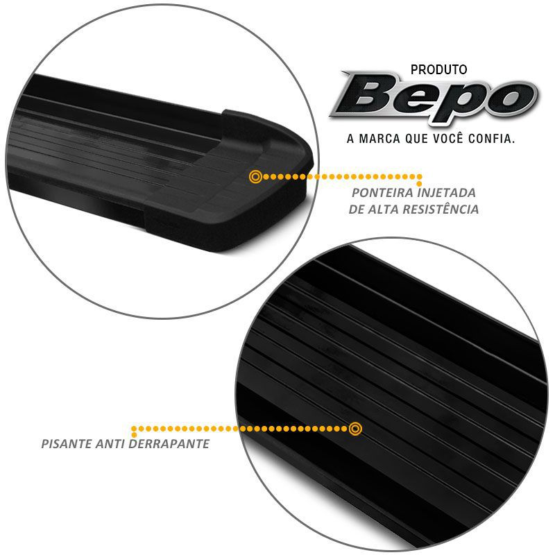 Estribo Lateral Ford Ranger 2013 a 2018 Aluminio Preto Bepo