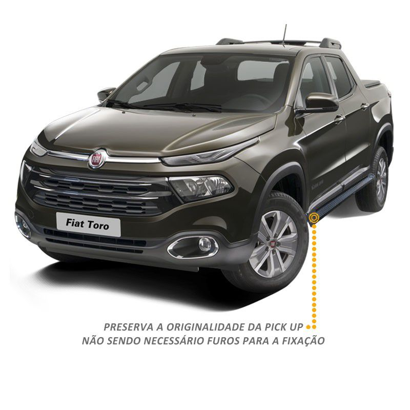 Estribo Lateral Fiat Toro 2016 a 2019 Aluminio Preto A3