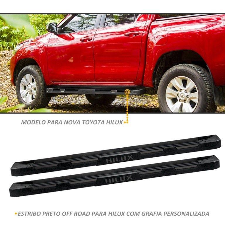 Estribo Lateral Hilux 2016 a 2018 Off-Road Preto Stribus