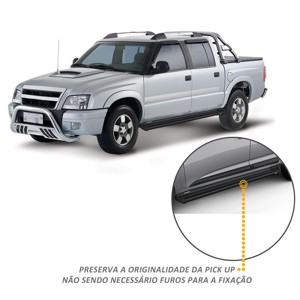 Estribo Lateral S10 1998 a 2011 CD Aluminio Preto Keko K1