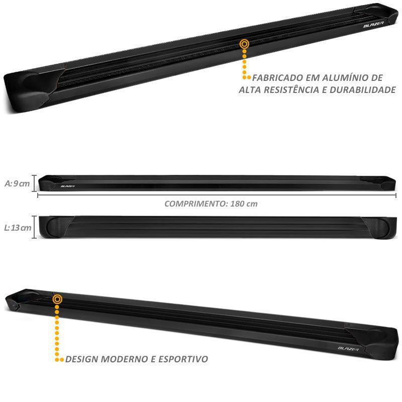 Estribo Lateral Plataforma Blazer 1995 a 2010 Aluminio Preto