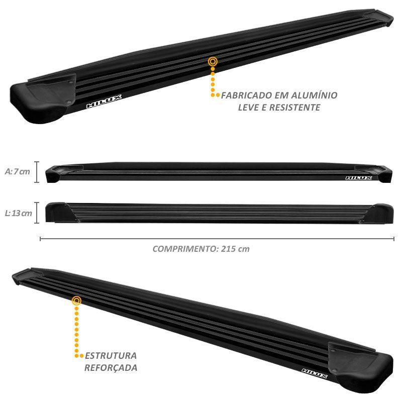 Estribo Lateral Hilux CD 2005 a 2015 Aluminio Preto A1