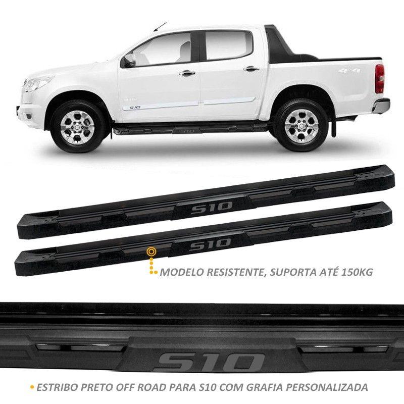Estribo Lateral S10 2012 a 2018 Stribus Off-Road Alumínio Preto Fosco