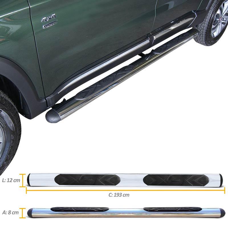 Estribo Oval Fiat Toro 2016 a 2018 Cromado Aço Carbono Bepo