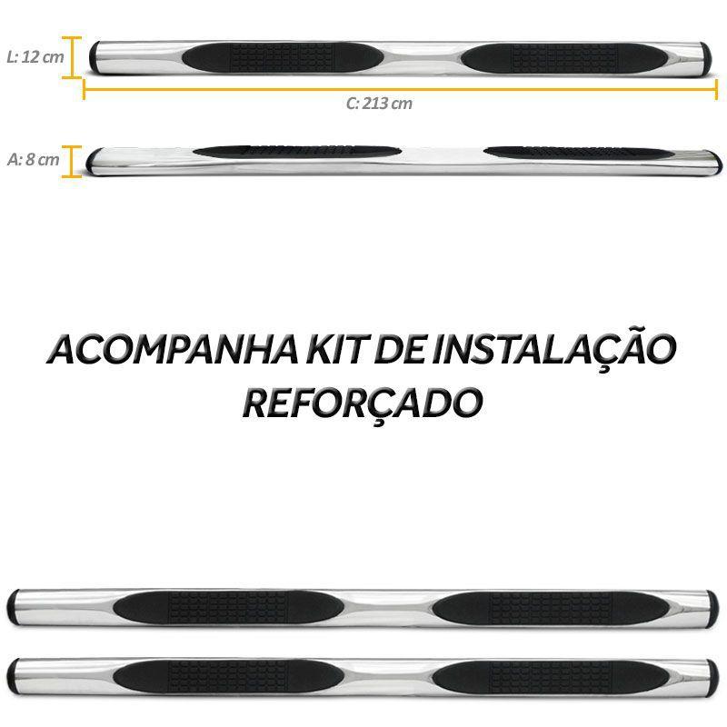 Estribo Lateral S10 2012 a 2019 Oval Cromado Em Aço Inox