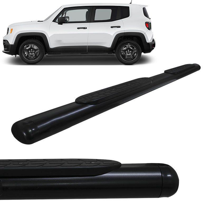 Estribo Lateral Oval Jeep Renegade 2016 a 2018 Oblongo Preto Gtnox