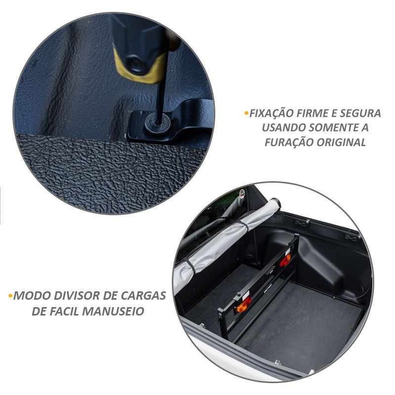 Extensor de Caçamba Fiat Toro 2016 a 2019 Divisor Carga Preto