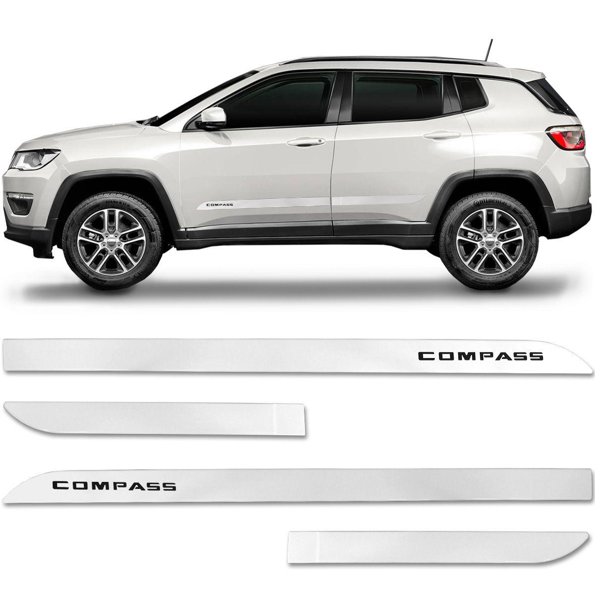Jogo De Friso Lateral Jeep Compass 2012 a 2019 Facão Branco Polar