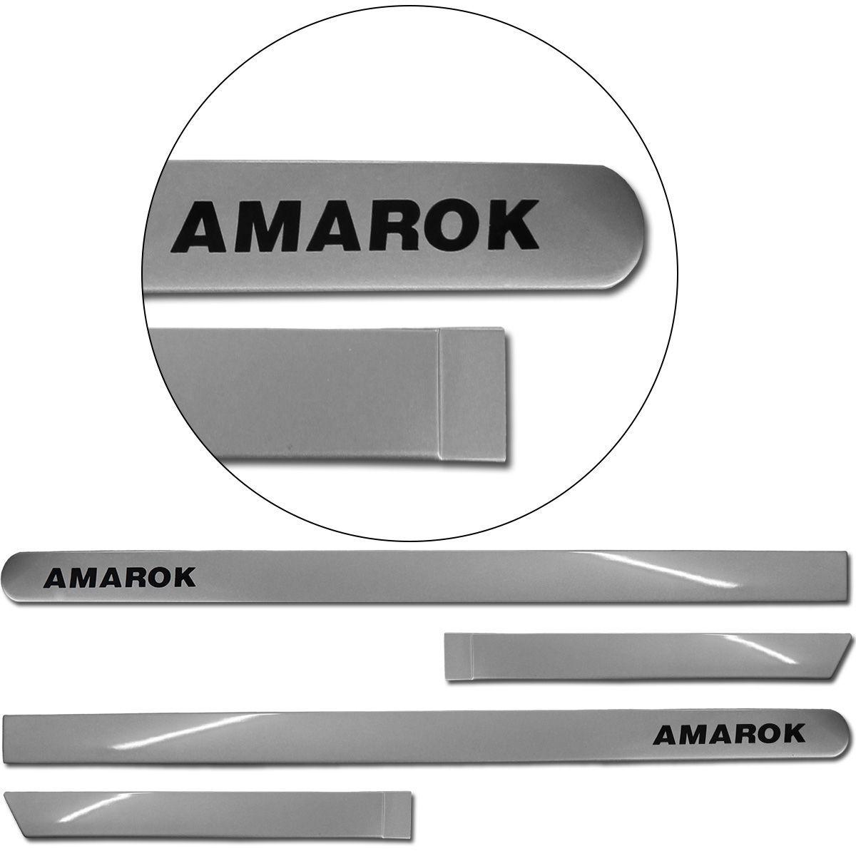 Jogo de Friso Lateral Amarok CD 2010 a 2019 Prata Vegas
