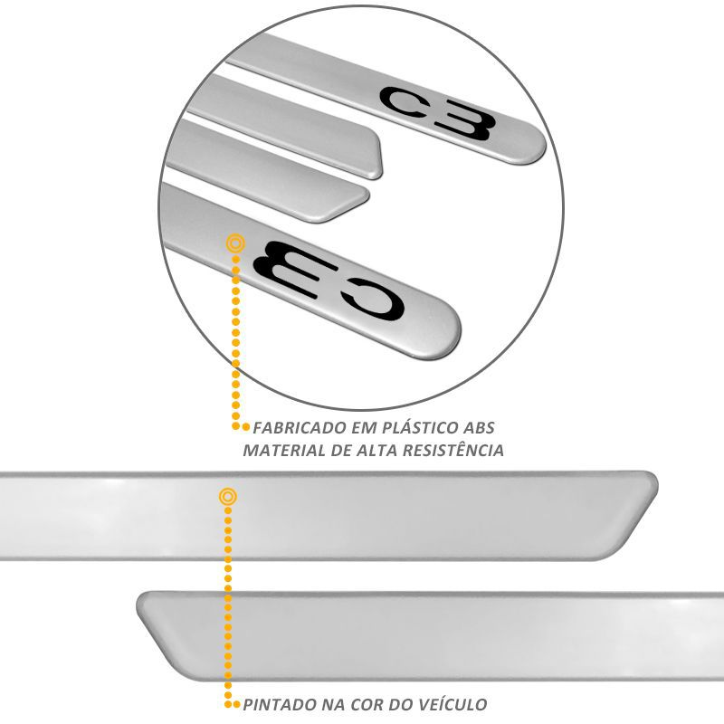 Jogo de Friso Lateral Citroen C3 Cinza Aluminium