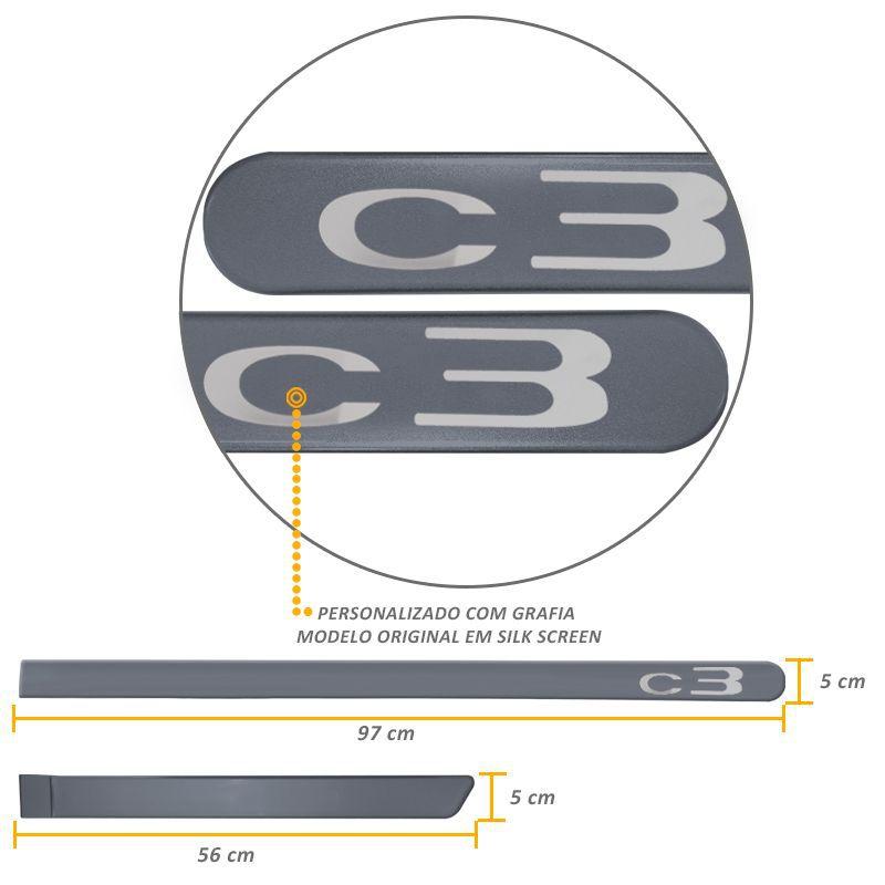 Jogo de Friso Lateral Citroen C3 Cinza Grafito
