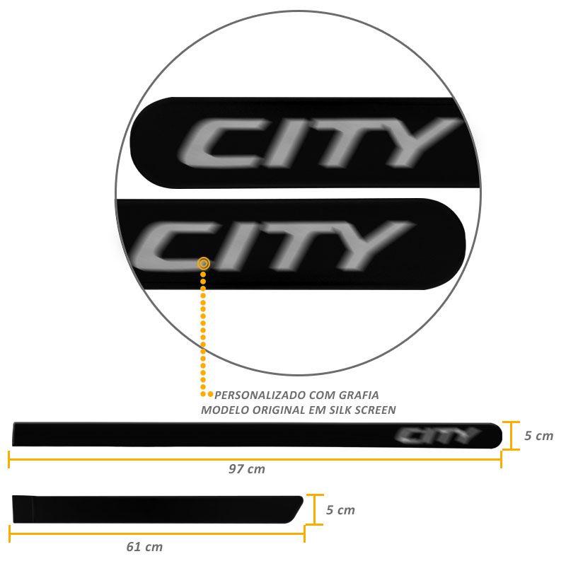 Jogo de Friso Lateral City 2015 a 2019 Preto Cristal