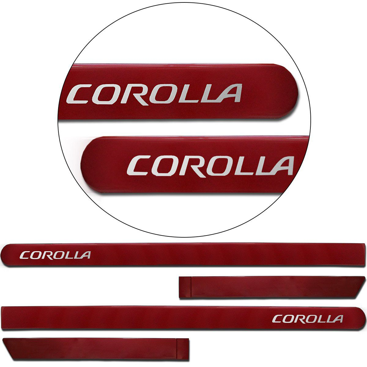 Jogo de Friso Lateral Corolla 2015 a 2019 Vermelho Granada