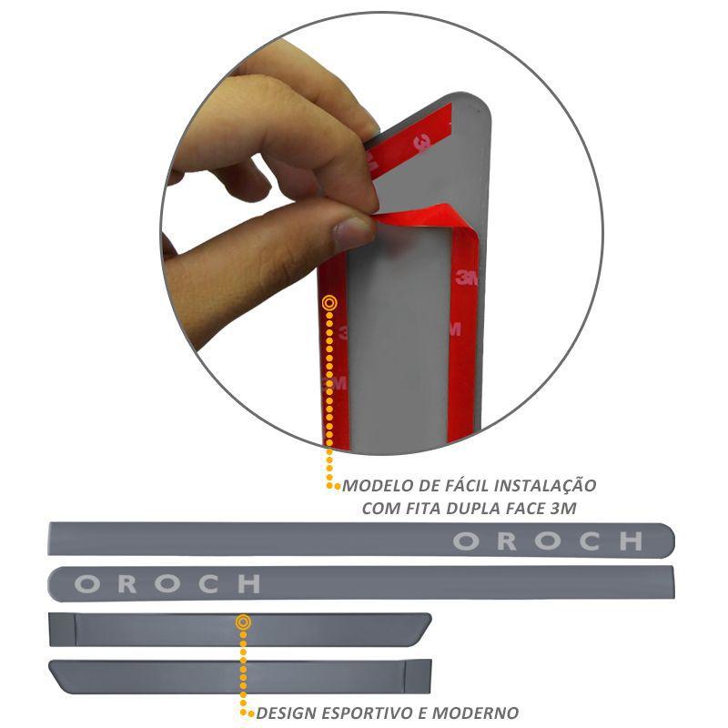 Jogo de Friso Lateral Oroch 2016 a 2019 Cinza Acier