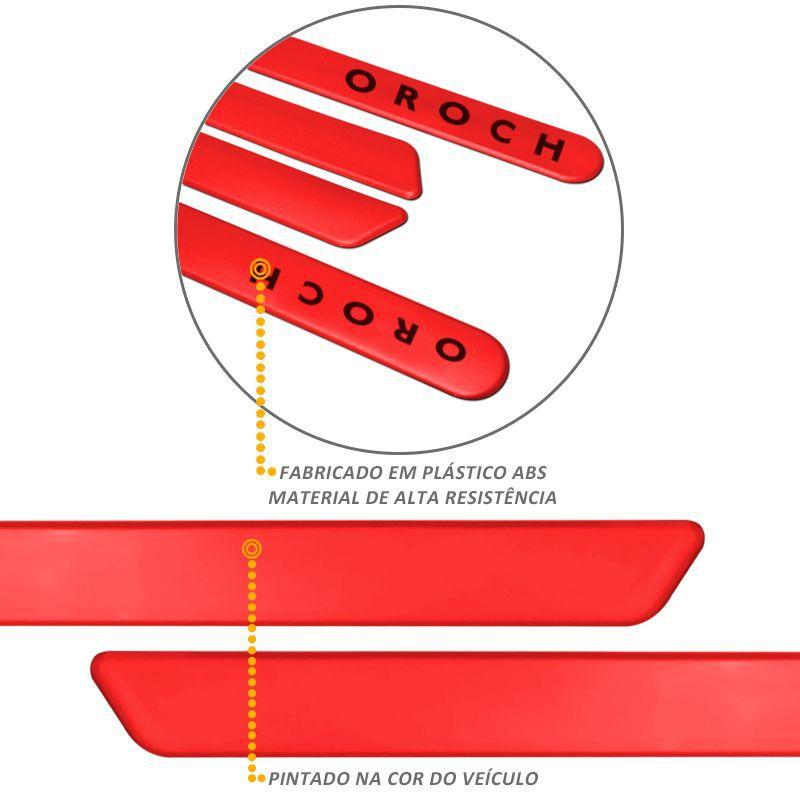 Jogo de Friso Lateral Oroch 2016 a 2019 Vermelho Fogo