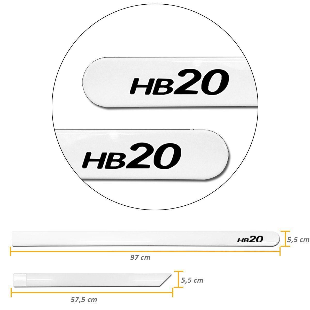 Jogo de Friso Lateral Hb20 2013 a 2019 Branco Polar