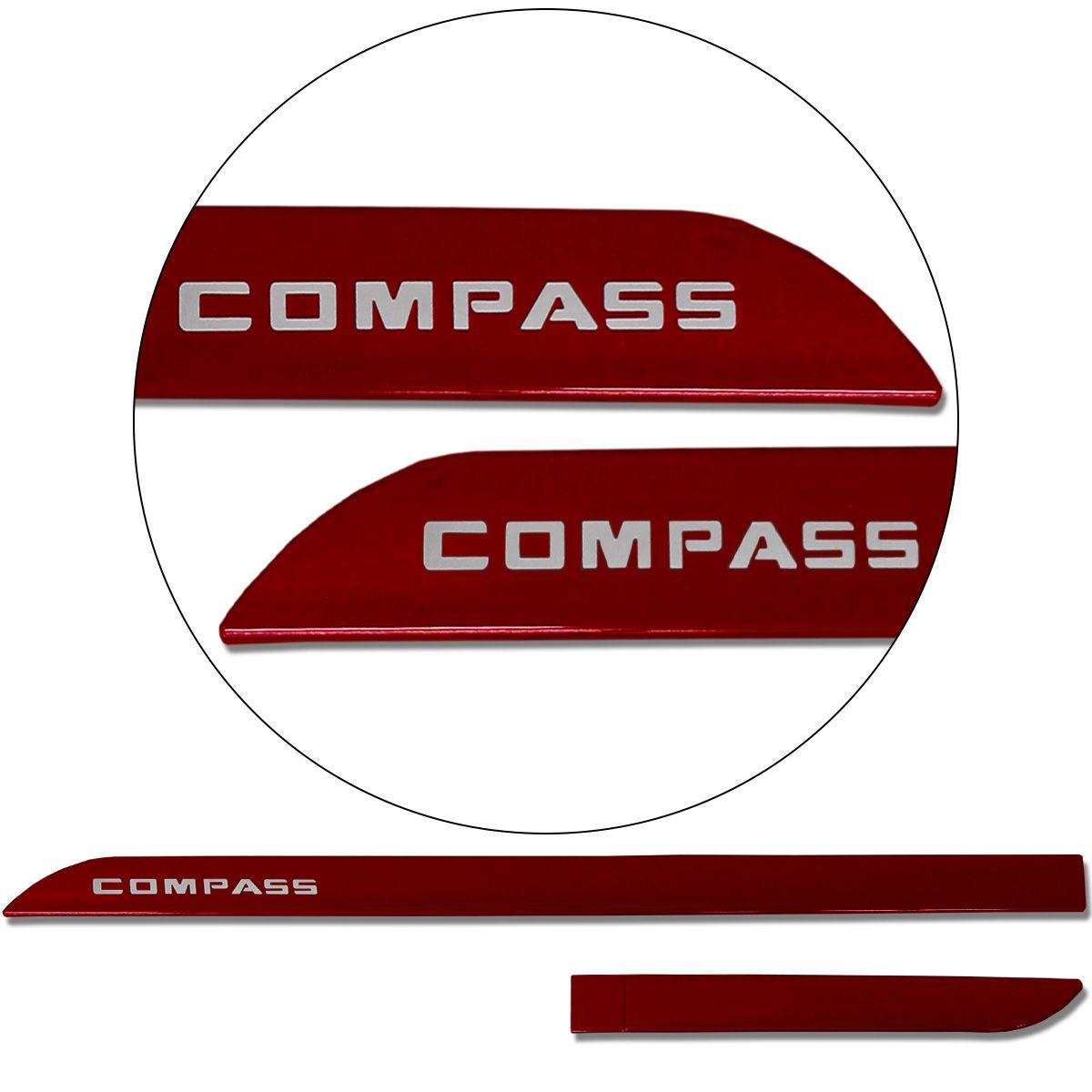 Jogo De Friso Lateral Jeep Compass 2012 a 2019 Facão Vermelho Tribal