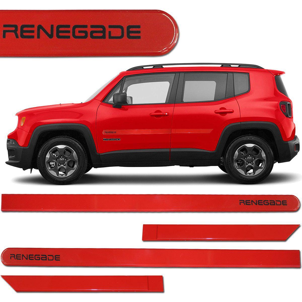 Jogo de Friso Lateral Jeep Renegade 2016 a 2019 Vermelho Colorado