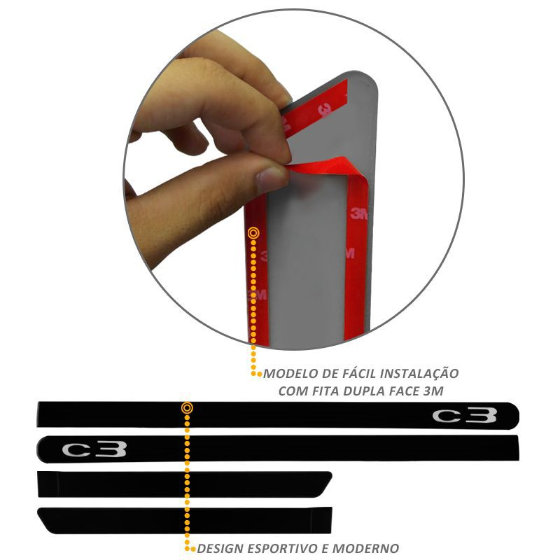 Jogo de Friso Lateral Citroen C3 Preto Perla Negra