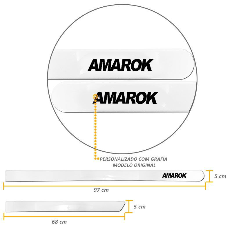 Jogo de Friso Lateral Amarok CD 2010 a 2020 Branco Cristal