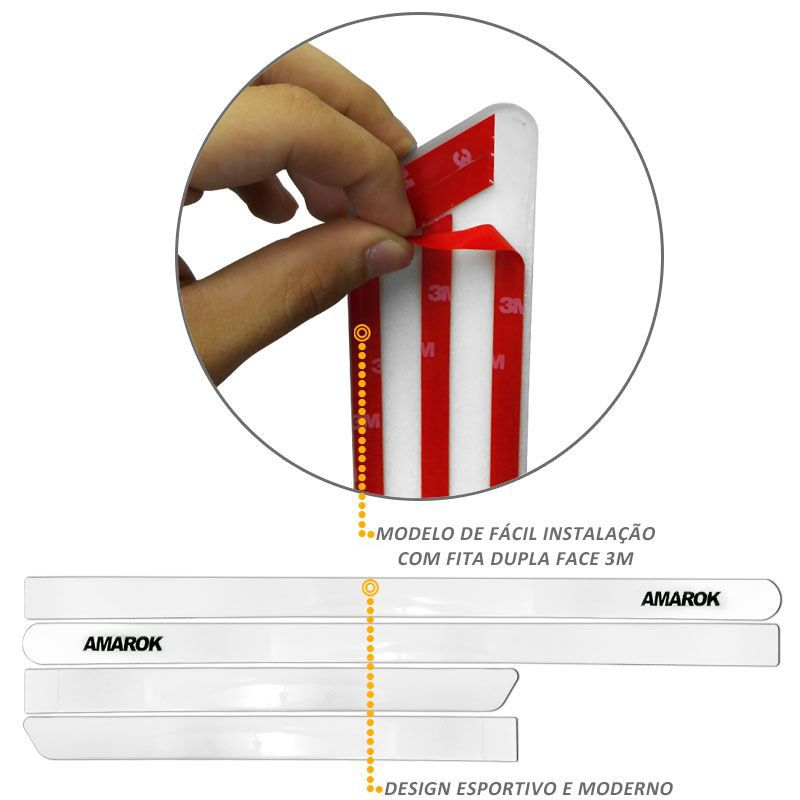 Jogo de Friso Lateral Amarok CD 2010 a 2019 Branco Cristal