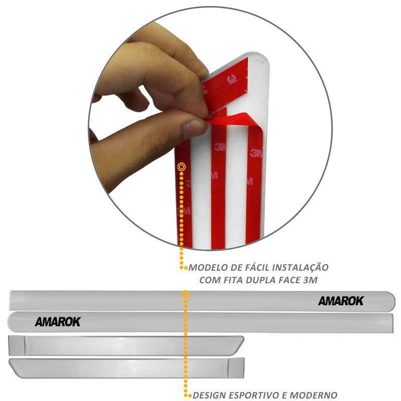 Jogo de Friso Lateral Amarok CD 2010 a 2019 Prata Sargas