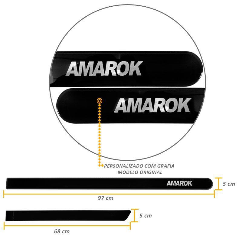 Jogo de Friso Lateral Amarok CD 2010 a 2019 Preto Mystic