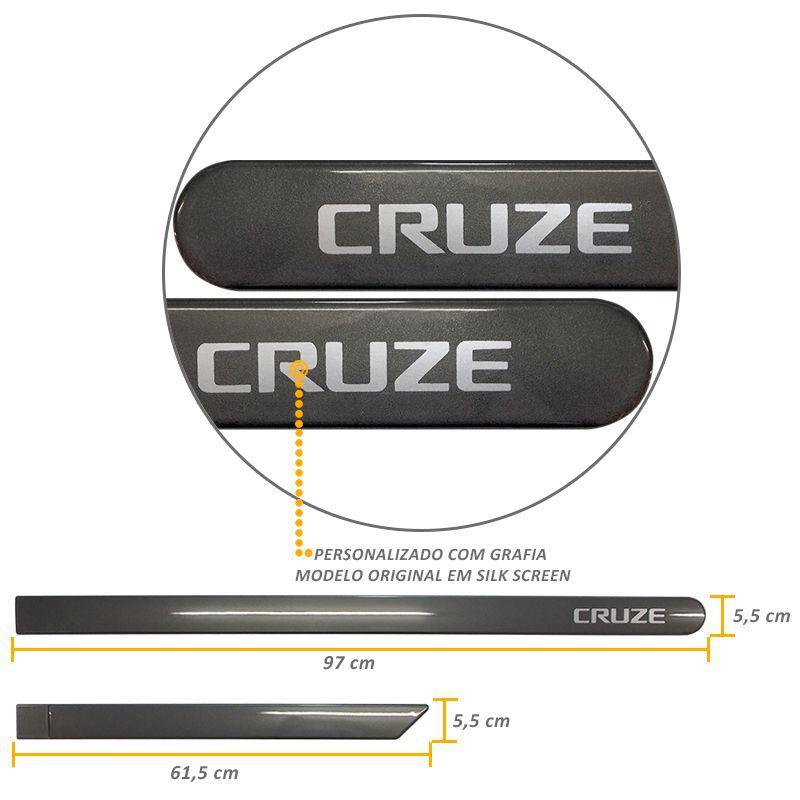 Jogo de Friso Lateral Cruze 2012 a 2019 Cinza Rusk