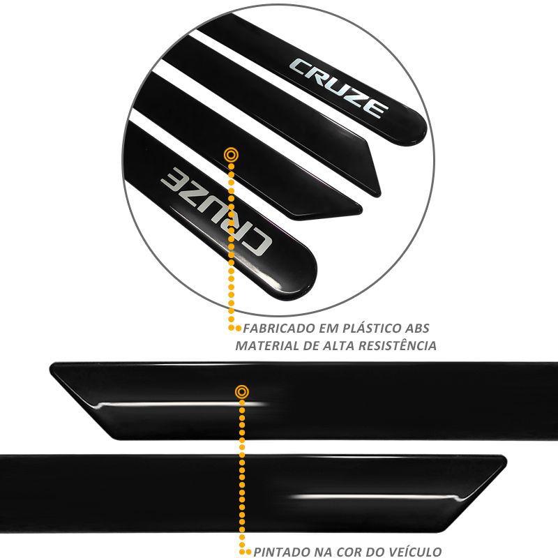 Jogo de Friso Lateral Cruze 2012 a 2019 Preto Carbon Flash
