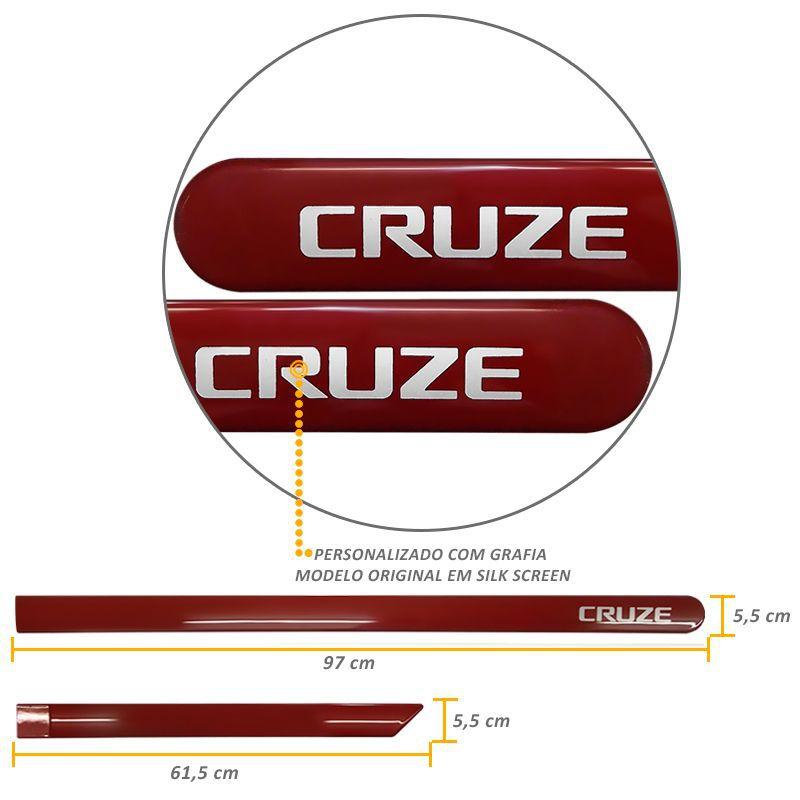 Jogo de Friso Lateral Cruze 2012 a 2019 Vermelho Chilli