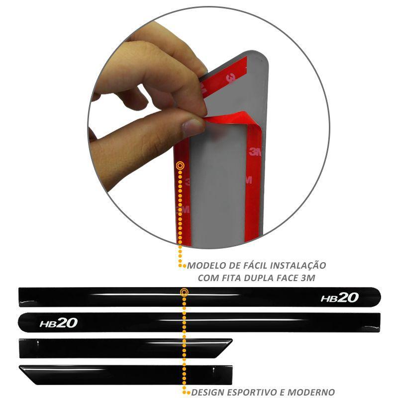 Jogo de Friso Lateral HB20 2013 a 2019 Preto Onix Solido