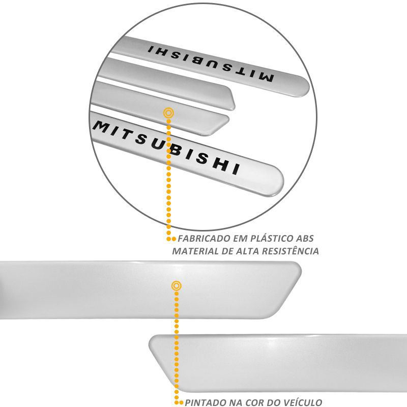 Jogo de Friso Lateral L200 Triton 2010 a 2020 Prata Tecno