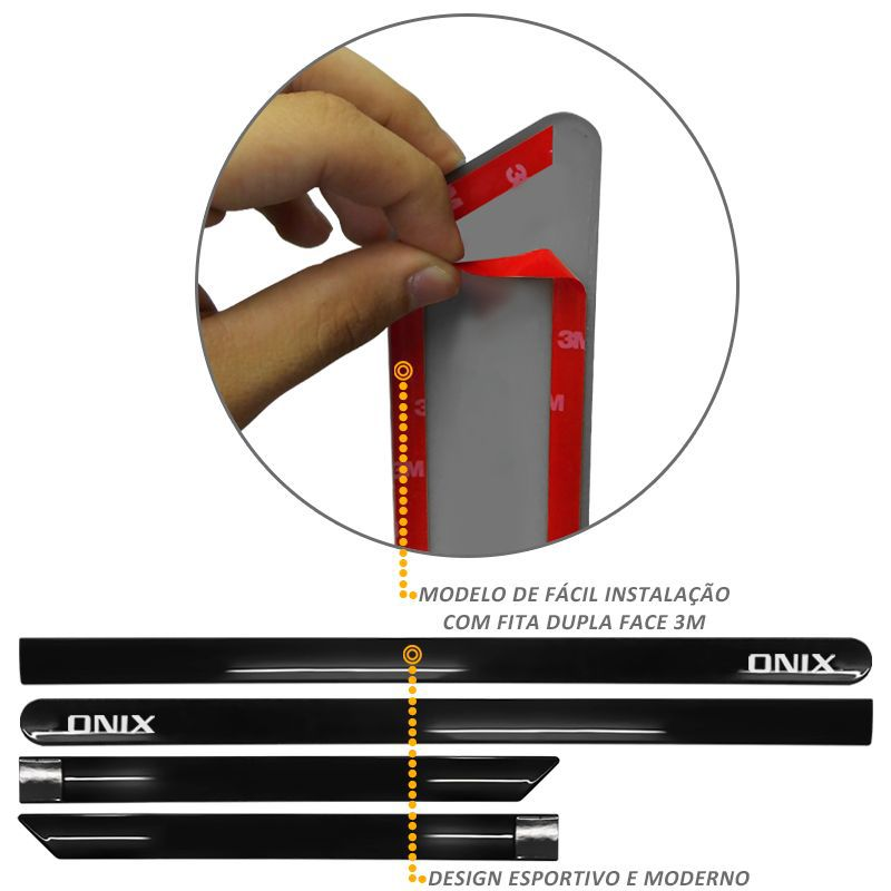 Jogo de Friso Lateral Onix Preto Carbon Flash