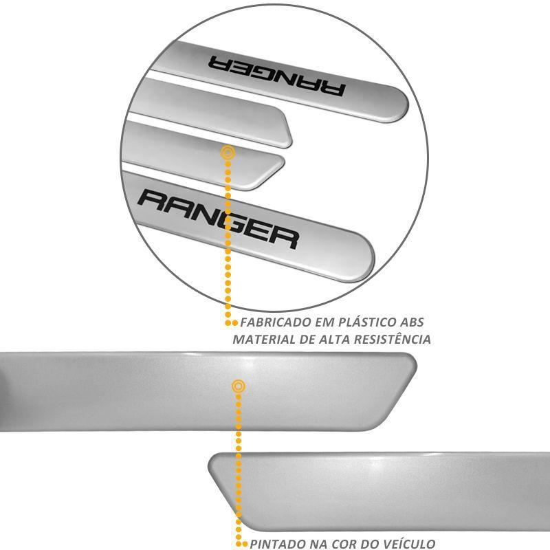 Jogo de Friso Lateral Ranger CD 2013/2017 Prata Geada